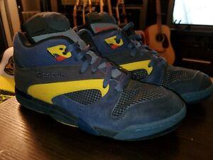 Reebok Pump HexiLite Suede Dark Blue/Yellow/Grey Rare Retro Mens Size 12