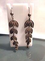 Sterling Silver Vtg Filigree Ornate Long Dangle Pierced Earrings BOHO
