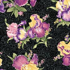 1 Half Metre length Irresistible Irises Floral Flowers Print Fabric - 1072-12