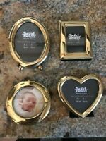 NEW SET OF 4 SMALL BRASS PHOTO FRAMES IN DIFFERENT SHAPES - FREE SHIPPING