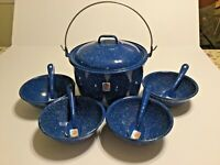 Vintage Cinsa Camping Enamelware Speckled Graniteware 10 pc Pot, Bowls & Spoons