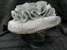 Vintage Coutour Silver Metallic Sequins Ruffles Church Wedding Party Derby Hat