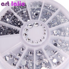 1Pc 3D Rhinestones Silver Glitter Diamond Gem Tips DIY Nail Art Decoration Wheel