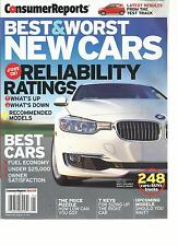 CONSUMER REPORTS, BEST & WORST NEW CARS, 2013 ( JUST IN RELIABILITY RATINGS )