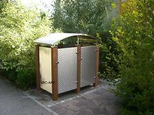 Mülltonnenbox Edelstahl NEU, Müllbox, Bangkirai  für 2 Mülleimer 240 Liter