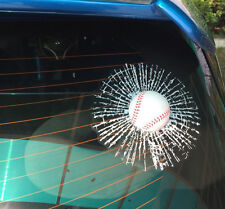 Sticker Stylish 3D Car Decal Graphics  - BASEBALL BALL Smashed screen