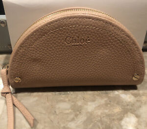 Chloe Perfume Faux Pebble Leather Small Coin Purse Wallet Blush Nude Pouch
