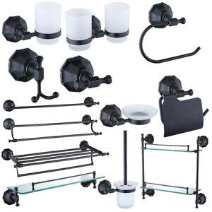 Black Bathroom Accessory Towel Rail Rack Bar Soap Dish dispenser Paper Holder