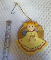 Angel with pigtails & wings Christmas xmas Tree holiday Ornament Pre-owned cute