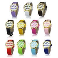 2017 New Fashion Watch Moire Watch PU Leather Woman Man Quartz Wrist Watches Hot