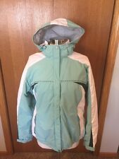 j183 Columbia Womens Medium Hooded Parka Winter Coat Green White Jacket