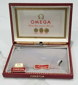Vintage Omega Seamaster 1960s Display Red Watch box with price tags and info