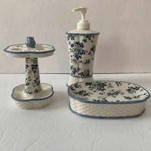 Waverly Garden Room / Springs Blue Floral Ceramic 3-Piece Bathroom Set **READ**