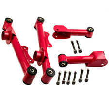 Fit Mustang 1979-2004 RED Upper &Lower Rear Tubular Control Arms w/ Bushings Kit