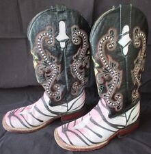FERRINI Women's Pink Zebra Pattern Leather Cowboy Boots Size 5 1/2