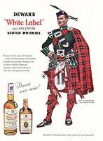 1955 Clan Wallace Tartan Piper portrait Dewar's Scotch Whisky vintage print ad