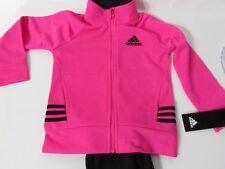 ADIDAS Toddler Girls 2pc Set: Graphic Joggers &  Full Zip Track Jacket size 24 M