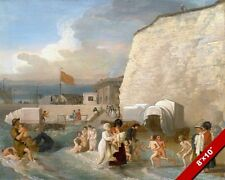 BATHING IN THE SEA AT RAMSGATE KENT ENGLAND PAINTING ART REAL CANVASPRINT