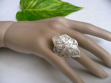 Women Antique Silver Flower Fashion Jewelry Floral Ring Metal Adjustable Band