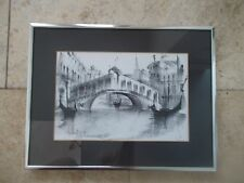 Rialto Bridge Grand Canal VENICE ITALY Signed Framed DRAWING CHARCOAL !!