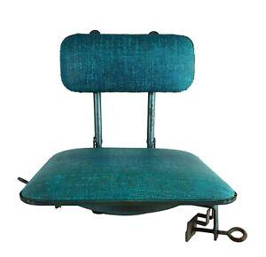 Vtg Retro Blue Vinyl 1950's 1960's Portable Folding Stadium Seat SWIVEL Chair