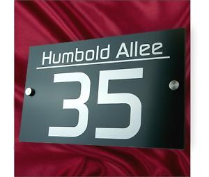 Hausnummernschild Hausnummer Anthrazit  Edelstahl Design RAL7016 Straßenname V2A