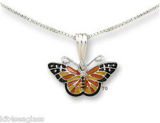 "Zarah MONARCH BUTTERFLY Necklace Silver Plated Enamel 18"" Chain + Wrapped Box"