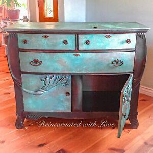 Locking, Antique Dresser, Sideboard, Painted Dresser, Art Deco Dresser, Dresser