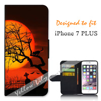 For Apple iPhone 7 PLUS Wallet Flip Phone Case Cover Black Cat Spooky Y00771