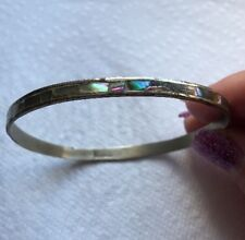 Silver Bangle Bracelet Jewelry Bp-66 Mexico Mother Of pearl Shell