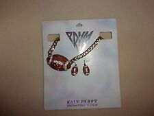 CLAIRE'S KATY PERRY PRISM COLLECTION CRYSTAL FOOTBALL NECKLACE & EARRINGS SET