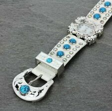 Western Cowgirl Turquoise Stud Rhinestone Belt Buckle Women's White Watch Geneva