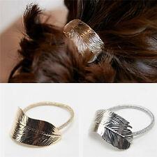 2pcs Women Gold Silver Leaf Scrunchie Hair Rope Elastic Band Ponytail Holder Hot