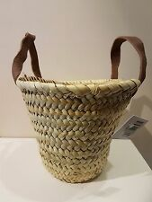 'French' Market Basket Hand Made in Morocco Duck (Baby) Basket leather handles