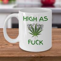 Weed coffee mug - High as F**k - Funny Cannabis leaf ganja pot smoker gift cup