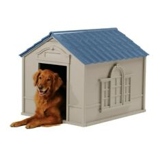 Tan/Blue Weatherproof Indoor & Outdoor Dog House for Medium and Large Breeds