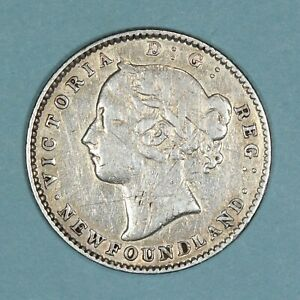 1896 Canada Newfoundland 10 Cents coin, F scratched, KM# 3