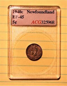 NFLD 1940c 5 CENTS Accugrade EF-45 NFLD 1940C 5 Cents Silver Accugrade EF-45