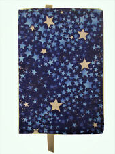 New Fabric Standard Paperback Book Cover Blue Silver & Navy Metallic Star Print