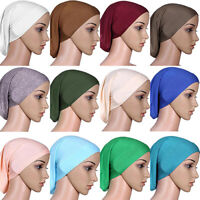 Women Muslim Islamic Solid Cotton Hijab Cap Head Under Scarf Shawl Turban NEW