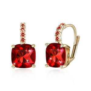 Red 18K Gold Plated Crystal Earrings Cushion Cut with Crystals