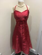 Chiffon Red Halter Neck Bridesmaid or Prom Dress 3/4 Length Size 10