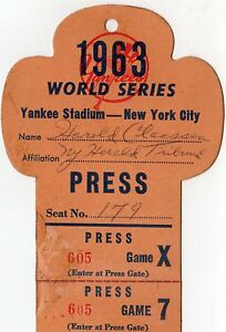 1963 World Series GM 1 Ticket Pass Sandy Koufax Record 15 K/Tops Ford/Mantle K