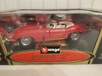 Bburago 1961 Jaguar E Type Cabriolet 1:18 Scale Diecast Car Burago '61 Red 3016