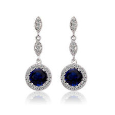 Diamante Stylish Ladies Earrings Sapphire Shade Dark Blue women drop design