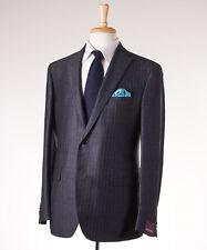 NWT $3495 SARTORIA PARTENOPEA Extra-Slim Gray Stripe Wool-Silk Suit 40 R (Eu 50)