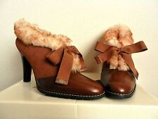 Matisse Suede Leather Shearling BROWN SUGAR Booties in Cognac size 6M EUC