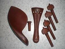 1 Set of Quality Carved Flower Violin parts 4/4 with Chin rest and violin pegs