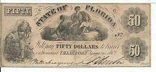 Rare State Florida Tallahassee $50 1862 Slaves Cotton 3 Females note #611 CR11