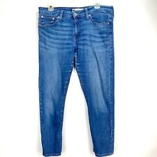 Levi's Womens 30 Jeans Boyfriend Skinny Medium Wash Mid-rise Whiskered Cropped